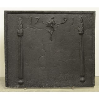 Antique Fireback Beautifully Decorated and Dated 1791