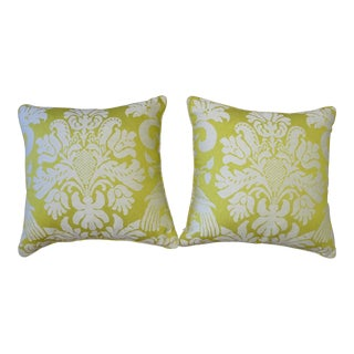 Contemporary Chartreuse Damask Pillows - a Pair For Sale