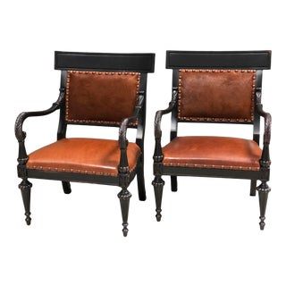 Cowhide and Leather Ralph Lauren Side Arm Chair Chairs - a Pair For Sale