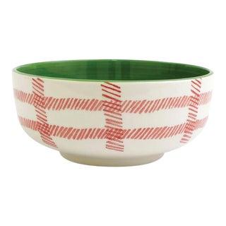 Kenneth Ludwig Chicago Mistletoe Plaid Large Serving Bowl For Sale