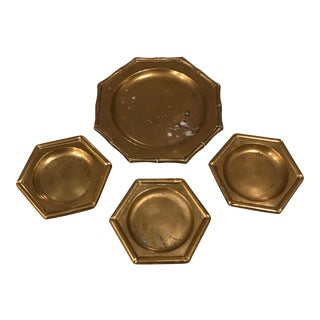 Mid-Century Brass Bamboo Coasters & Tray - Set of 4 For Sale