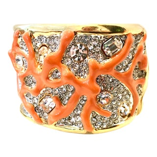 21st Century Kenneth Lane Gold & Faux Coral Swarovski Crystal Bracelet For Sale