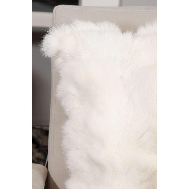 2010s Custom White Pieced Fox Pillow with Leather Backing For Sale - Image 5 of 8