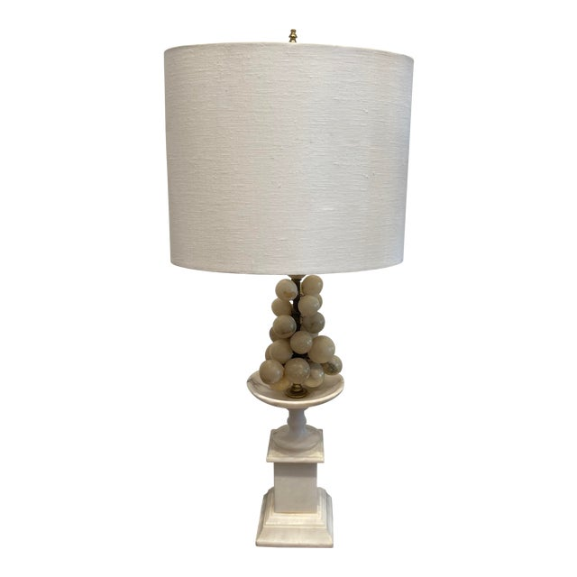 White Marble Grape Accented Oval Shade Base Lamp For Sale