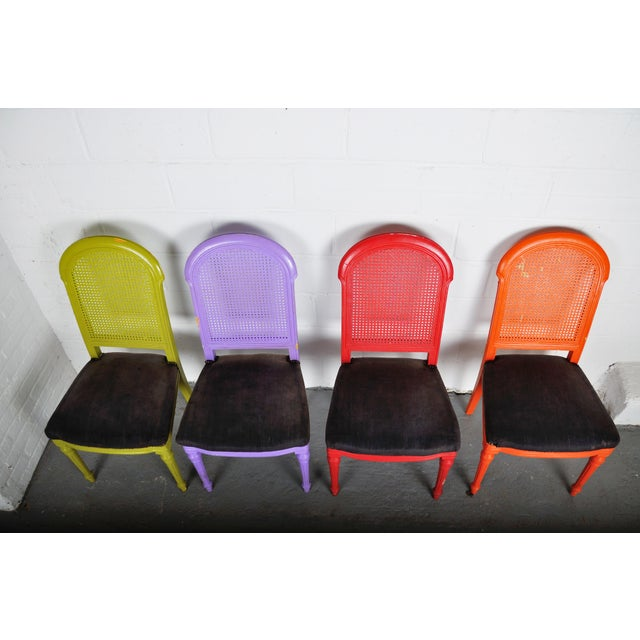 1970's Vintage French Multicolor Dining Chairs With Cane Back - Set of 4 For Sale - Image 11 of 13