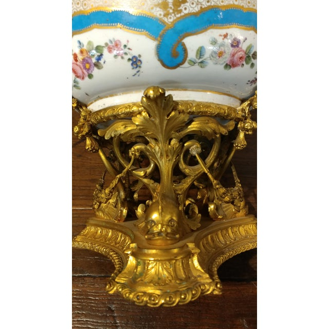 19th Century Beautiful French Sevre Porcelain & Gilt Bronze Center Piece For Sale In Los Angeles - Image 6 of 10