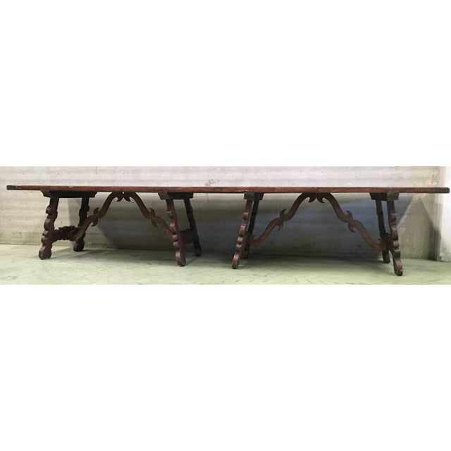 Early 19th Century French Baroque Style Walnut Trestle Dining Farm Table For Sale - Image 10 of 11