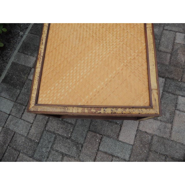 Faux Tortoise Bamboo and Rattan Coffee Table For Sale - Image 9 of 10