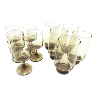 Vintage Tawney Glasses Barware Set by Libbey Glass Company - 10 Piece Set For Sale