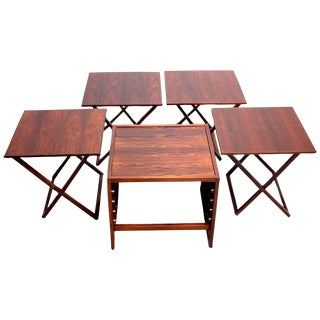 1960s Danish Modern Aksel Kjersgaard Cube Rosewood Tray Tables - Set of 5 For Sale