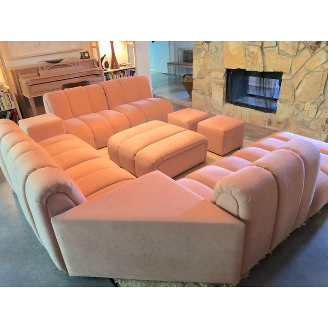 Casa Bella Vintage Glam Mid-Century Modular Tubular Brutalist Pink Sectional Sofa--11 Piece Set For Sale - Image 4 of 9