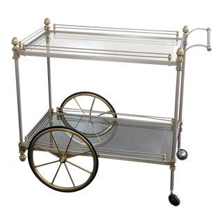 Mid Century Vintage Regency Style Bar Cart For Sale