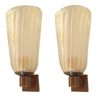 Mid Century Modern Ivory Murano Glass Sconces Barovier Style, Italy 1970s - a Pair For Sale