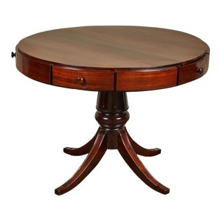 19th Century French Colonial Five Drawer Drum Table For Sale