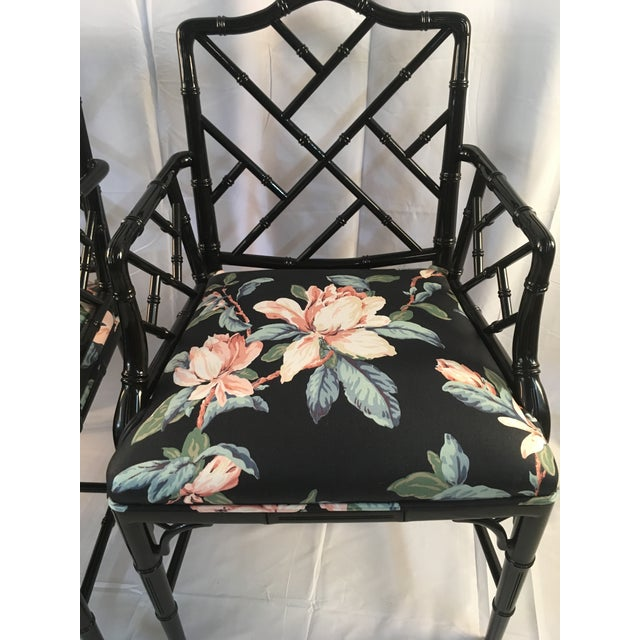 Century Furniture 1980s Chinese Chippendale Black Lacquer Arm Chairs - a Pair For Sale - Image 4 of 11