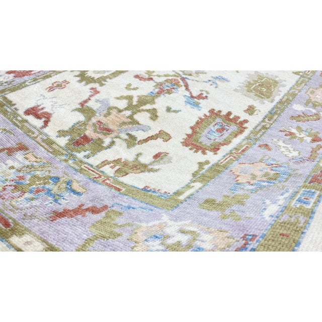 Turkish Contemporary Floral Hand-Knotted Oushak Area Rug For Sale - Image 9 of 13