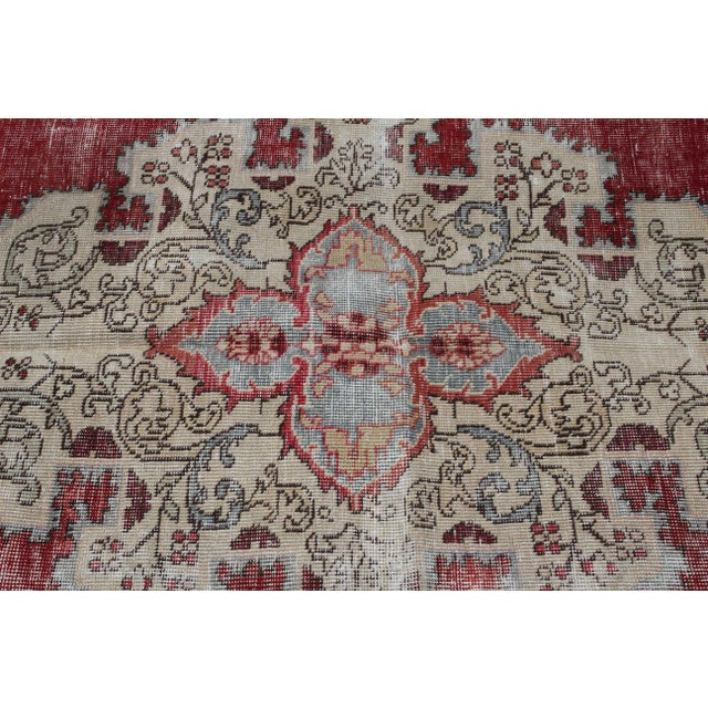 Textile Vintage Turkish Anatolian Handmade Home Decorative Red Color Area Size Rug- 5′7″ × 8′3″ For Sale - Image 7 of 9