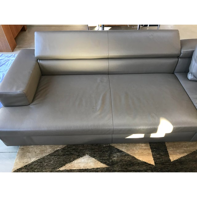 Swan Italian Leather Sectional With Ottoman - Image 5 of 5