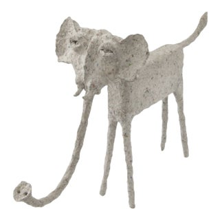 Paper Mache Elephant With Trunk Down For Sale