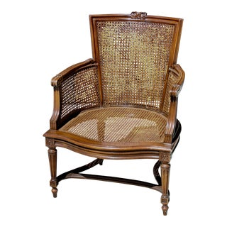 Vintage French Louis XVI Cane Arm Chair For Sale