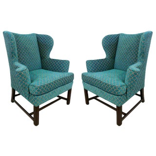 1950s Mid-Century Modern Turquoise Wingback Chairs - a Pair For Sale