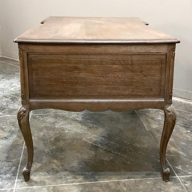 Antique Country French Louis XV Stripped Oak Desk For Sale - Image 9 of 12