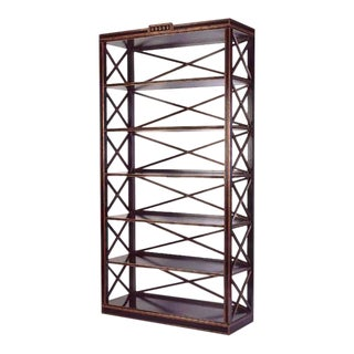 Charles Pollock Black & Gold Swedish Empire Etagere Shelving Unit For Sale