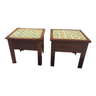 Talavera Tile Top Accent Tables - A Pair