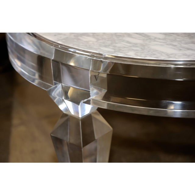 Modern Lucite and Marble-Top Coffee Table For Sale - Image 3 of 8