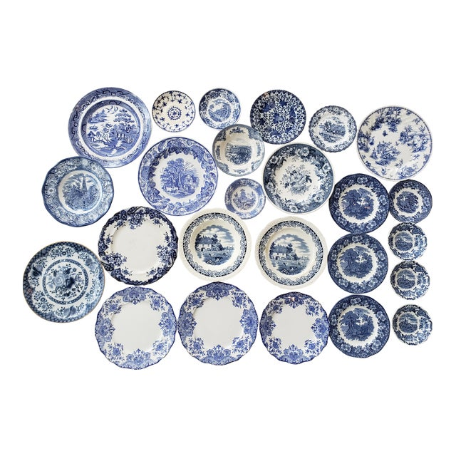 Vintage Blue & White China Plates-Set of 25 For Sale