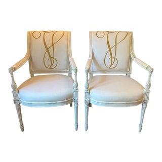 Pair of V Monogrammed Niermann Weeks Louis XVI Chairs For Sale