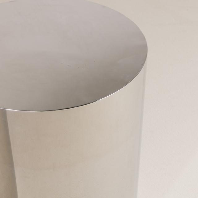 Pair of Polished Steel Pedestals, Table Bases 1970s For Sale - Image 4 of 6
