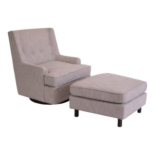 Edward Wormley Dunbar Swivel Reclining Chair and Ottoman For Sale