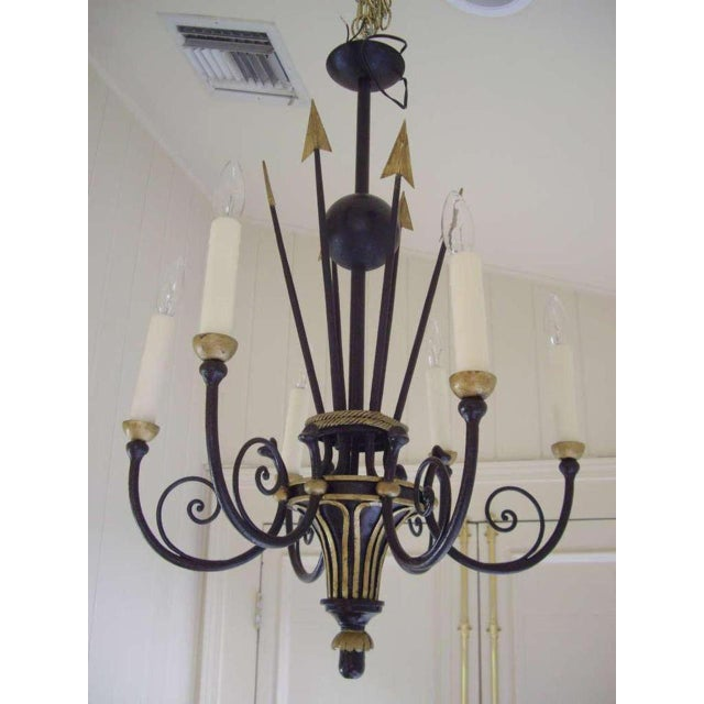 1920s French Empire Style Six Light Chandelier For Sale - Image 5 of 7