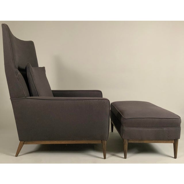 1950s Paul McCobb for Directional High Back Lounge Chair and Ottoman For Sale - Image 9 of 10