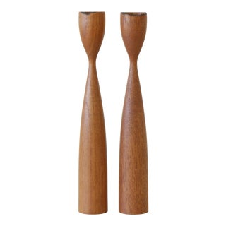 Mid-Century Modern Teak Danish Candle Holders - a Pair