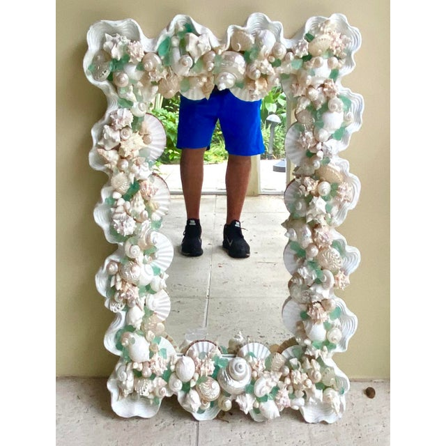 Late 20th Century Contemporary Coastal Custom Shell and Sea Glass Mirror For Sale - Image 5 of 10