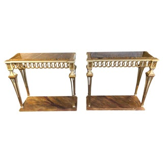 Parcel Paint and Gilt Decorated Pair of Swedish Serving or Console Tables For Sale
