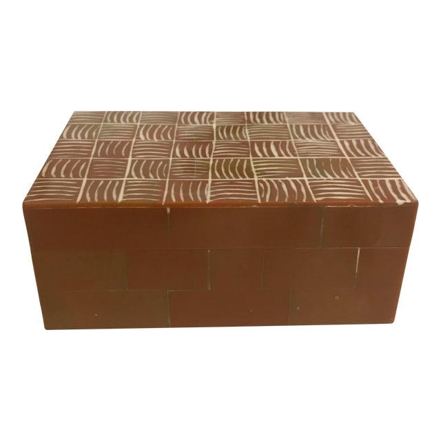 Brown and Ivory Inlay Bone Box