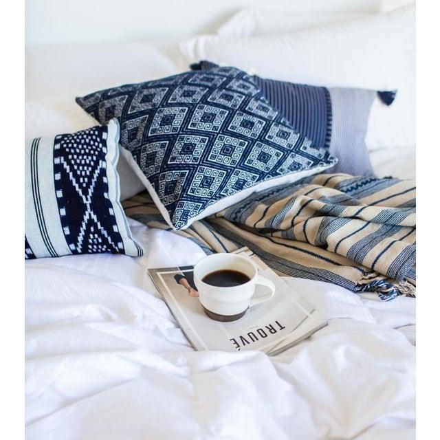 Indigo & Ecru Handwoven Blanket - Image 3 of 4
