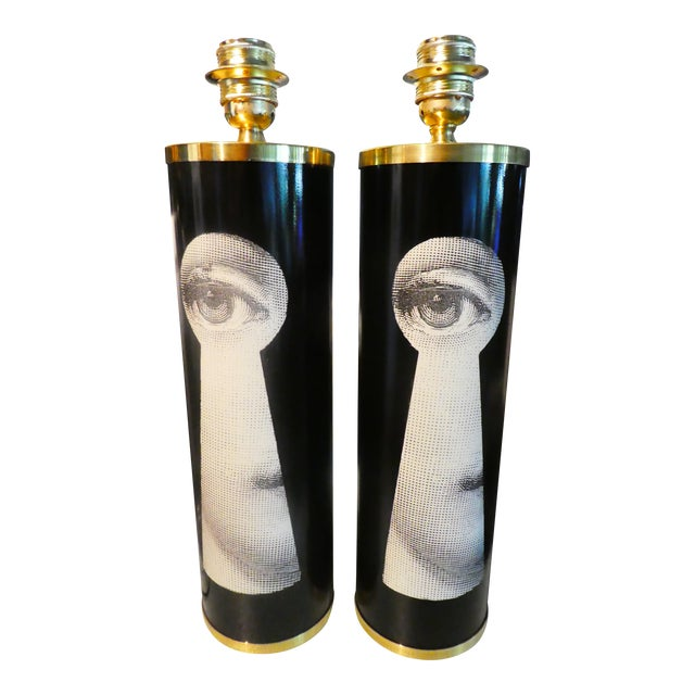 Vintage Large Fornasetti Julia Keyhole Lamps - a Pair For Sale