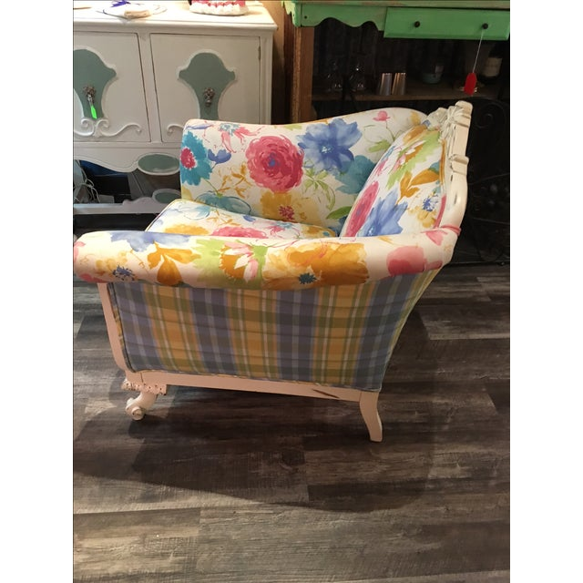 Floral and Plaid Club Chair - Image 4 of 4