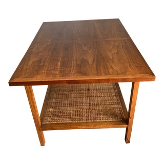 Mid Century ModernLane Furniture Walnut and Cane Side Table For Sale