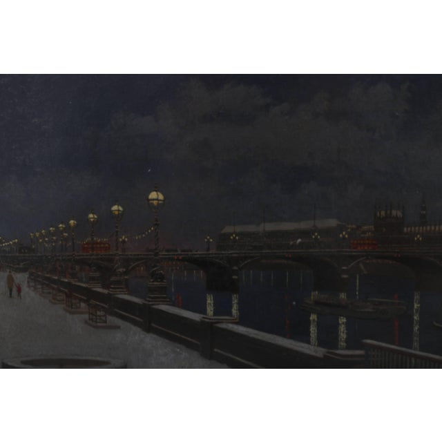 "Mid 20th Century ""London Bridge at Night"" Acrylic Painting by David Thomas For Sale - Image 5 of 10"