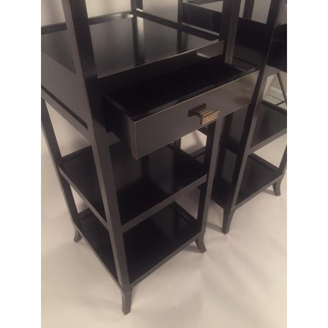 Contemporary Wood Black Lacquered Etagere Shelves - A Pair For Sale - Image 5 of 9
