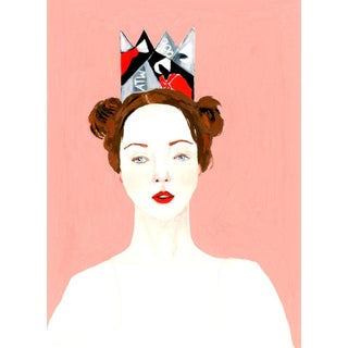 """""""Portrait of a Girl Wearing a Handmaid's Tale Paper Crown"""" Contemporary Gouache Painting by Alexandra Swistak For Sale"""