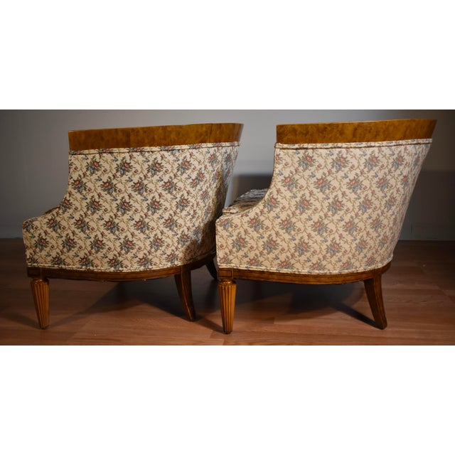 1950s Biedermeier Style Burl Fruit Wood Fireplace Chairs - a Pair For Sale - Image 10 of 13