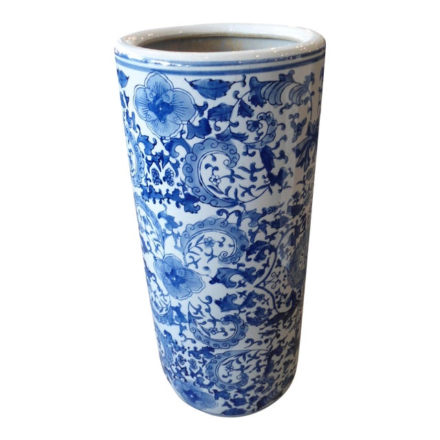 Asian Blue White Porcelain Tall Umbrella Standvase Chairish
