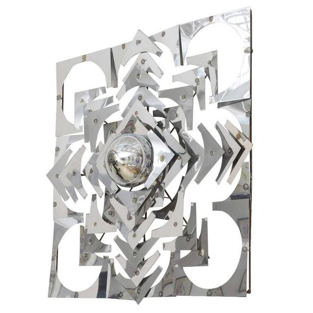 1970s, Mid-Century Modern, Pop Art, Polished Chrome, Square, 3-D Wall Sculpture For Sale - Image 11 of 11