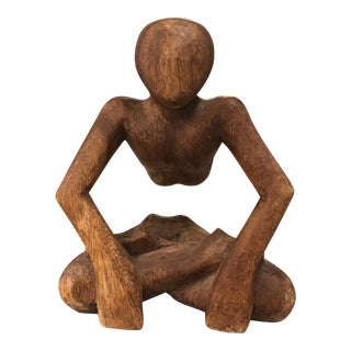 Hand Carved Wood Abstract Statue